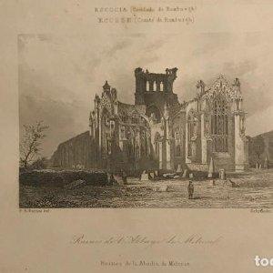 Escocia. (Condado de Roxburg). Ruinas de la Abadía de Melrose 18x25 cm