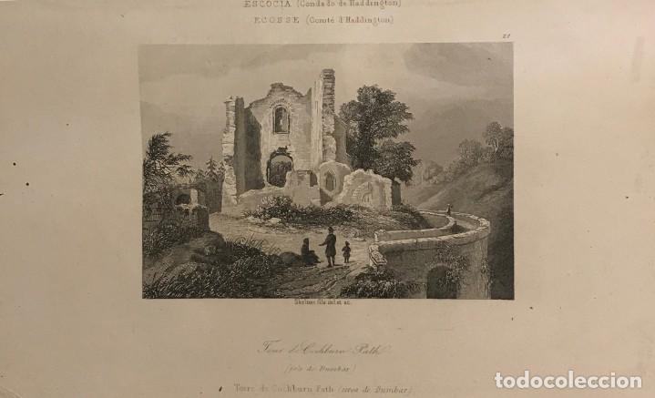 ESCOCIA. (CONDADO DE HADDINGTON). TORRE DE COCHBURN PATH (CERCA DE DUMBAR) 18X25 CM (Arte - Grabados - Modernos siglo XIX)