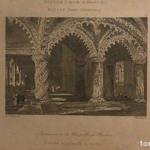 Escocia. (Condado de Edimburgo). Interior de la capilla de Roslin 12,3x20,3 cm