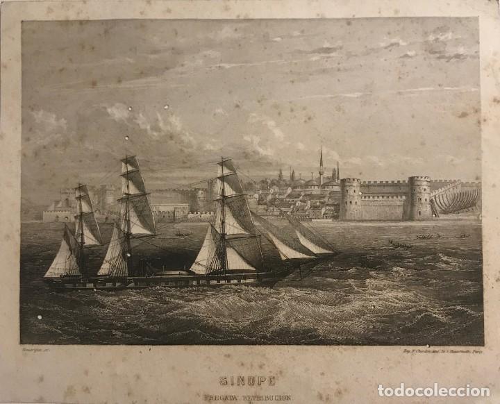 ITALIA. SINOPE. FREGATA RETRIBUCIÓN 13,8X17,1 CM (Arte - Grabados - Modernos siglo XIX)