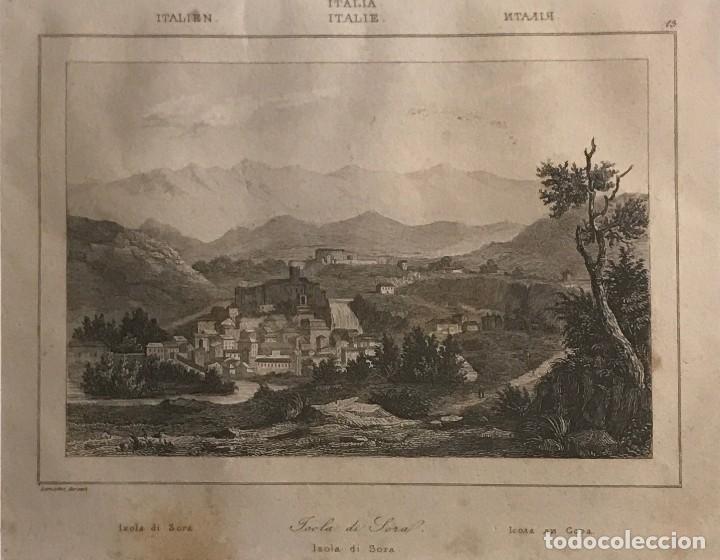 ITALIA. ROMA. ISLA DE SORA 24X30 CM (Arte - Grabados - Modernos siglo XIX)