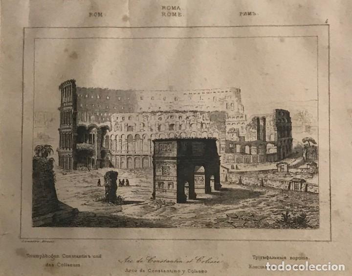 ITALIA. ROMA. ÁREA DE CONSTANTINO Y COLISEO 24X30 CM (Arte - Grabados - Modernos siglo XIX)