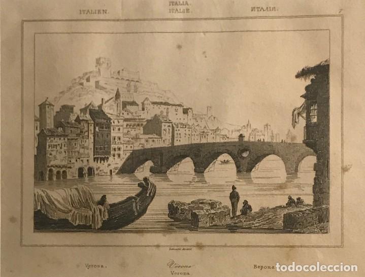 ITALIA. VERONA 24X30 CM (Arte - Grabados - Modernos siglo XIX)