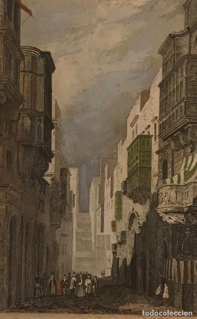 MALTA. CALLE DE SANTA ÚRSULA 24X30 CM (Arte - Grabados - Modernos siglo XIX)
