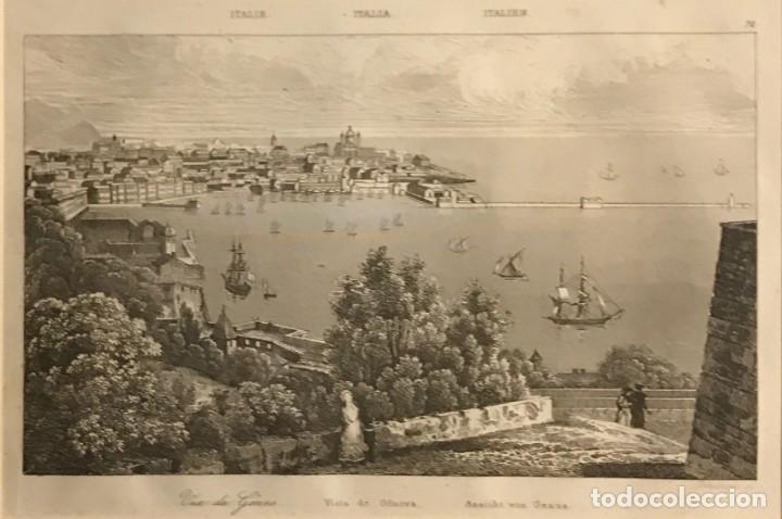 ITALIA. VISTA DE GENOVA 24X30 CM (Arte - Grabados - Modernos siglo XIX)