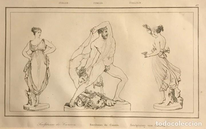 ITALIA. ESCULTURAS DE CANOVA 24X30 CM (Arte - Grabados - Modernos siglo XIX)