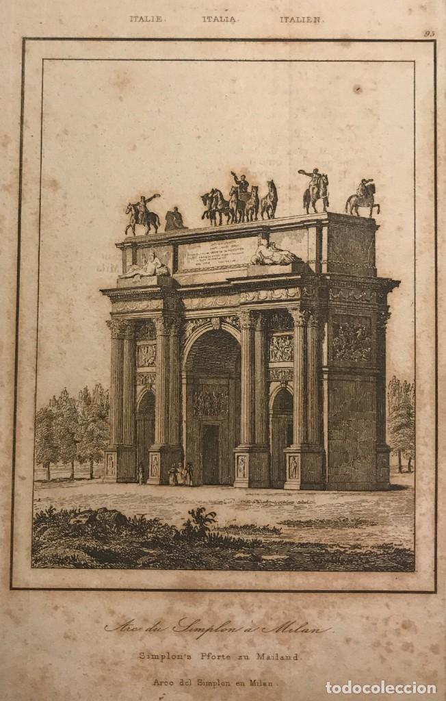 ITALIA. ARCO DE SIMPLON EN MILAN 12,8X20,6 CM (Arte - Grabados - Modernos siglo XIX)