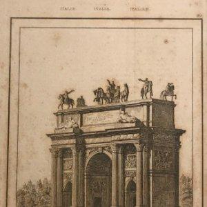 Italia. Arco de Simplon en Milan 12,8x20,6 cm