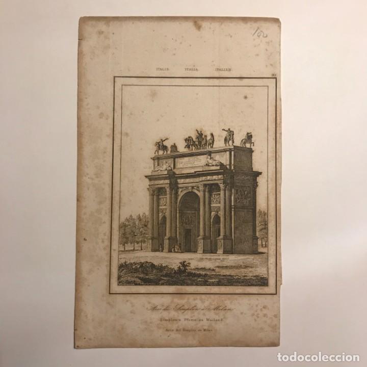 Arte: Italia. Arco de Simplon en Milan 12,8x20,6 cm - Foto 2 - 152656230