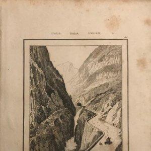 Italia. Puente del Gondo en el Simplon 13,3x20,5 cm