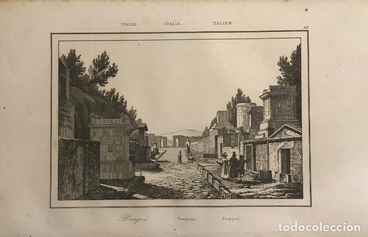 ITALIA. POMPEIA 13,2X20,5 CM (Arte - Grabados - Modernos siglo XIX)