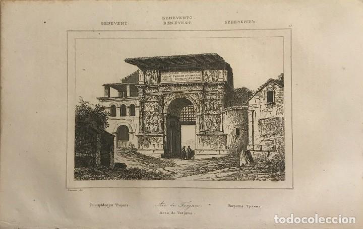 ITALIA. BENEVENTO. ARCO DE TRAJANO 13,2X20,5 CM (Arte - Grabados - Modernos siglo XIX)