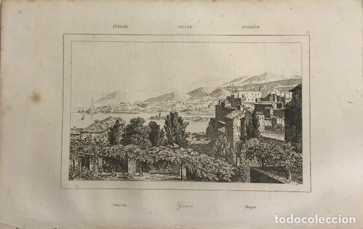 ITALIA. GENOVA 13,2X20,5 CM (Arte - Grabados - Modernos siglo XIX)