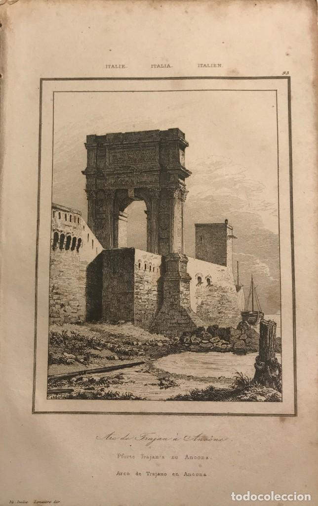 ITALIA. ARCO DE TRAJANO EN ANCONA 13,2X20,5 CM (Arte - Grabados - Modernos siglo XIX)