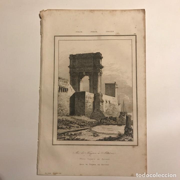 Arte: Italia. Arco de Trajano en Ancona 13,2x20,5 cm - Foto 2 - 152658486