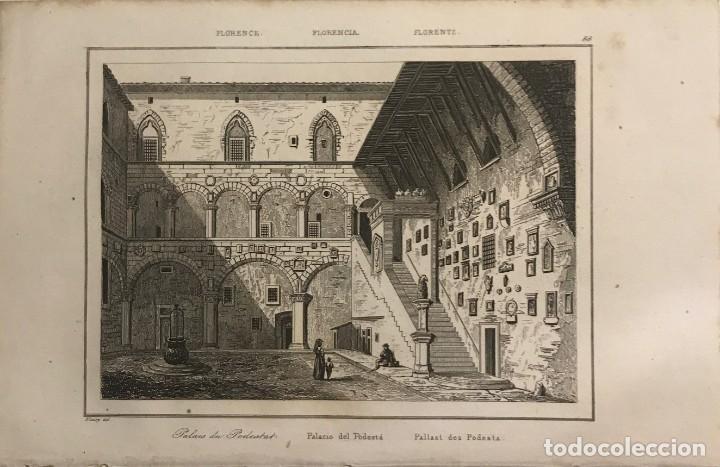ITALIA. FLORENCIA. PALACIO DEL PODESTÁ 13,2X20,5 CM (Arte - Grabados - Modernos siglo XIX)