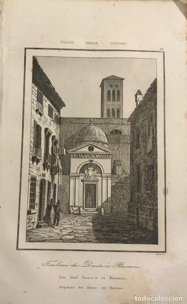 ITALIA. SEPULCRO DEL DANTE EN RAVENNA13,2X20,5 CM (Arte - Grabados - Modernos siglo XIX)