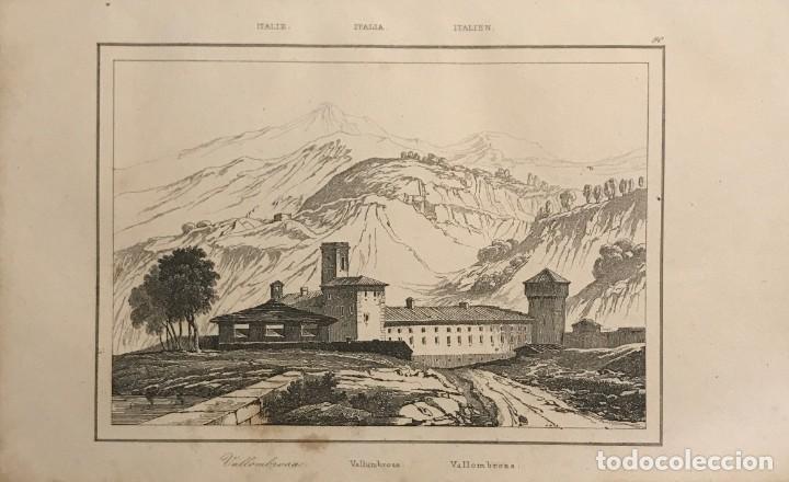 ITALIA. VALLOMBROSA 25X18 CM (Arte - Grabados - Modernos siglo XIX)
