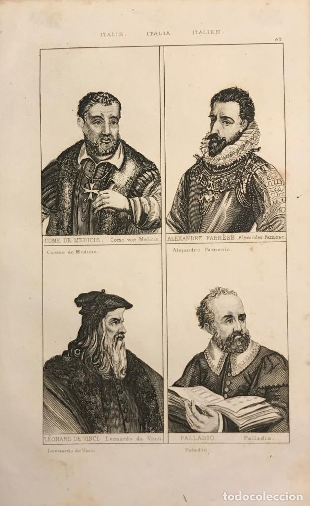 ITALIA. COSME DE MEDICIS, ALEJANDRO FARNESIO, LEONARDO DA VINCI Y PALLADIO 25X18 CM (Arte - Grabados - Modernos siglo XIX)