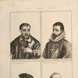 Italia. Cosme de Medicis, Alejandro Farnesio, Leonardo Da Vinci y Palladio 25x18 cm