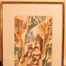 Arte: PICASSO Y SU HERMANA LOLA EN LA PLAZA DE LA MERCED. GRABADO 1975. NUMERADO 3/50. 72X52CM MEDIDAS EXT. Lote 152955322