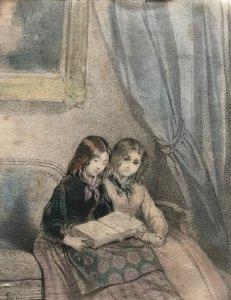 Grabado dos niñas leyendo 9,6x15,1 cm