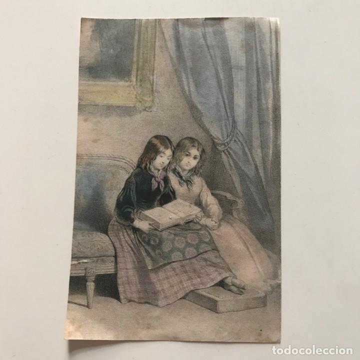 Arte: Grabado dos niñas leyendo 9,6x15,1 cm - Foto 2 - 152992274