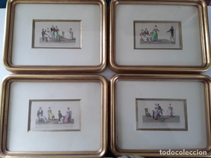 Arte: Cuatro grabados con escenas de juegos de sociedad con un trasfondo erótico. Iluminados. Franceses - Foto 2 - 153074738