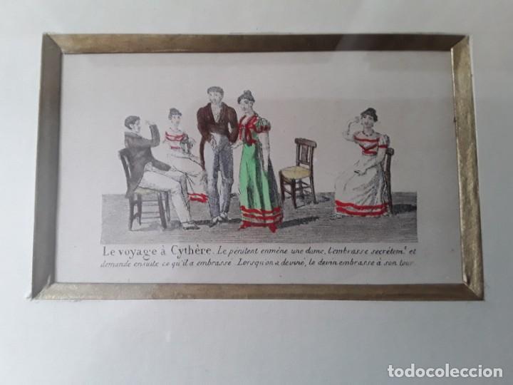 Arte: Cuatro grabados con escenas de juegos de sociedad con un trasfondo erótico. Iluminados. Franceses - Foto 4 - 153074738