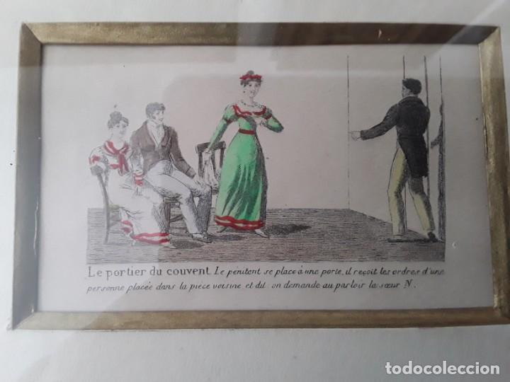 Arte: Cuatro grabados con escenas de juegos de sociedad con un trasfondo erótico. Iluminados. Franceses - Foto 6 - 153074738