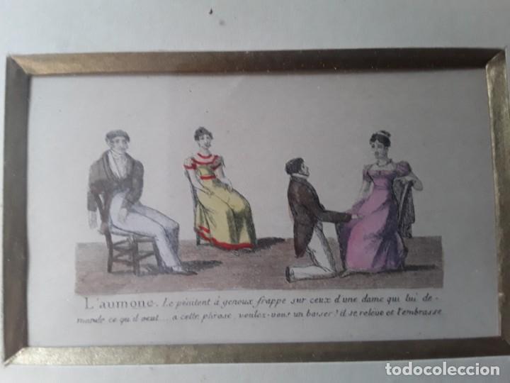 Arte: Cuatro grabados con escenas de juegos de sociedad con un trasfondo erótico. Iluminados. Franceses - Foto 7 - 153074738