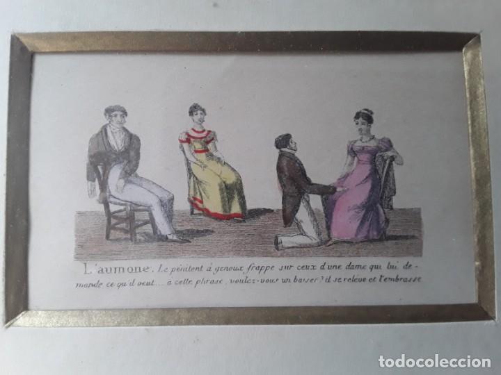 Arte: Cuatro grabados con escenas de juegos de sociedad con un trasfondo erótico. Iluminados. Franceses - Foto 8 - 153074738