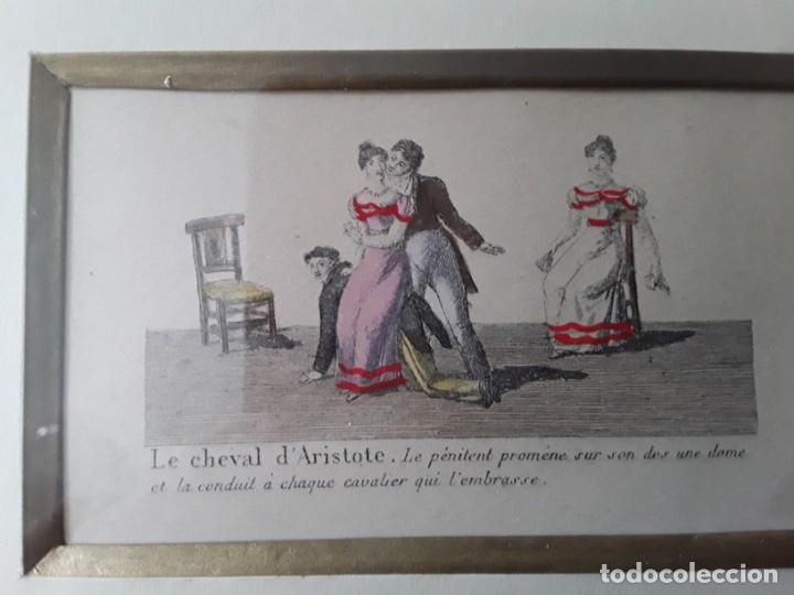 Arte: Cuatro grabados con escenas de juegos de sociedad con un trasfondo erótico. Iluminados. Franceses - Foto 10 - 153074738
