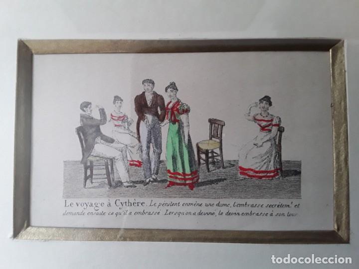 Arte: Cuatro grabados con escenas de juegos de sociedad con un trasfondo erótico. Iluminados. Franceses - Foto 17 - 153074738