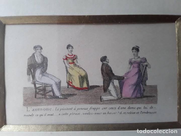 Arte: Cuatro grabados con escenas de juegos de sociedad con un trasfondo erótico. Iluminados. Franceses - Foto 22 - 153074738