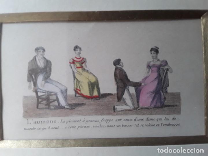 Arte: Cuatro grabados con escenas de juegos de sociedad con un trasfondo erótico. Iluminados. Franceses - Foto 23 - 153074738