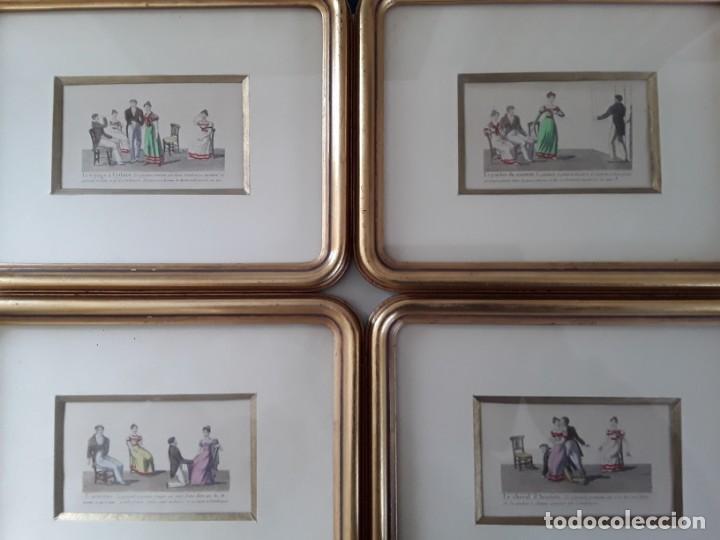 Arte: Cuatro grabados con escenas de juegos de sociedad con un trasfondo erótico. Iluminados. Franceses - Foto 24 - 153074738