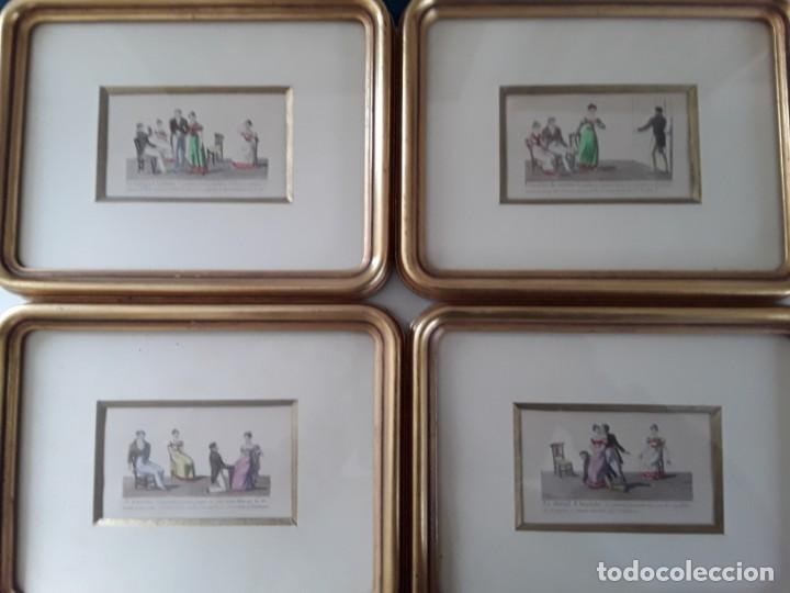 Arte: Cuatro grabados con escenas de juegos de sociedad con un trasfondo erótico. Iluminados. Franceses - Foto 25 - 153074738