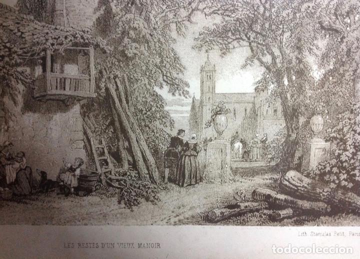 GRABADO FRANCÉS, LES RESTES D UN VIEUX MANOIR, LITH STANISLAS PETIT, PARIS. (S. XIX). (32 X 25 CM.) (Arte - Grabados - Modernos siglo XIX)