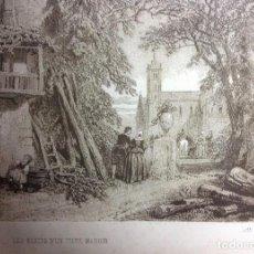 Arte: GRABADO FRANCÉS, LES RESTES D UN VIEUX MANOIR, LITH STANISLAS PETIT, PARIS. S. XIX.. Lote 153138030