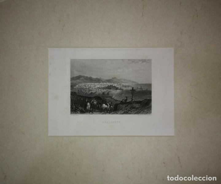 ANTIGUO GRABADO BARCELONE (BARCELONA) PASPARTÚ BISELADO 41X34 PREPARADO PARA ENMARCAR PUERTO PLAYA (Arte - Grabados - Modernos siglo XIX)