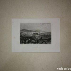 Antiguo grabado Barcelone (Barcelona) paspartú biselado 41x34 preparado para enmarcar Puerto playa