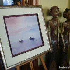 Arte: IMPRESIONANTE ACUARELA ESCENA COSTUMBRISTA PESCADORES FIRMA CORTÉS LIQUIDACIÓN GALERÍA ARTE BILBAO. Lote 153211806