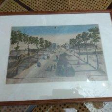 Arte: CUADRO GRABADO FRANCES COLOREADO ENMARCADO SELLADO. Lote 153484130