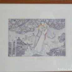 Arte: PACO AYALA.- LA PAREJA, NOCHE.(GRABADO ORIGINAL) ENMARCADO. Lote 153548474