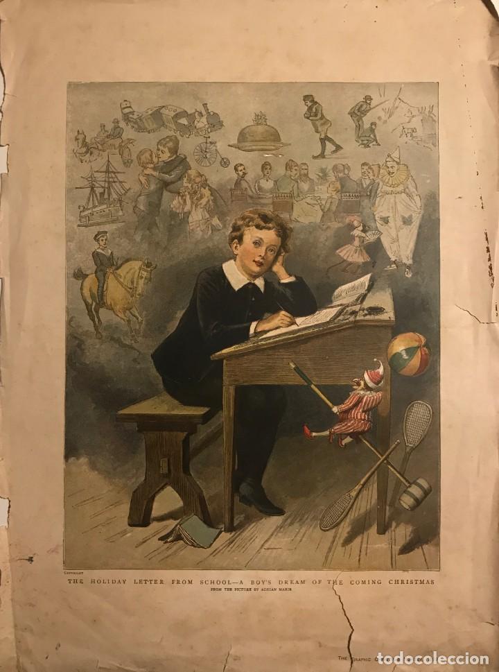 1889 GRABADO ANTIGUO NIÑO EN PUPITRE EN LA ESCUELA 30,5X40,8 CM (Arte - Grabados - Modernos siglo XIX)