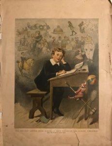 1889 Grabado antiguo niño en pupitre en la escuela 30,5x40,8 cm