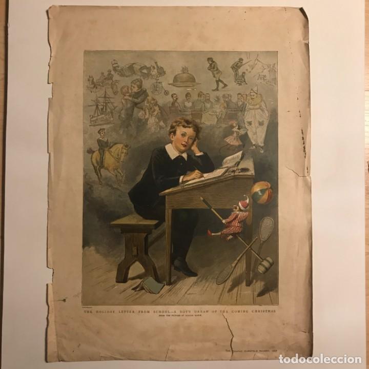 Arte: 1889 Grabado antiguo niño en pupitre en la escuela 30,5x40,8 cm - Foto 2 - 153570722