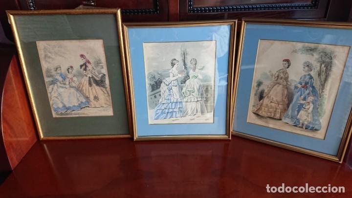 LOTE 3 GRABADOS EN COLOR 1846 LA MODA ELEGANTE PARIS (Arte - Grabados - Modernos siglo XIX)