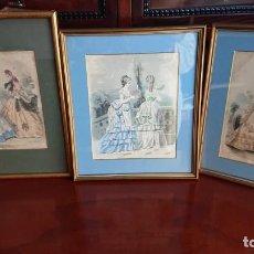 Arte: LOTE 3 GRABADOS EN COLOR 1846 LA MODA ELEGANTE PARIS. Lote 153577450